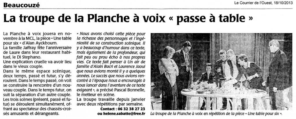 «Une table pour six», le Courrier de l'Ouest 18/10/2013