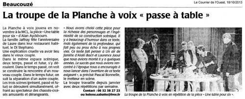 « Une table pour six », le Courrier de l'Ouest 18/10/2013