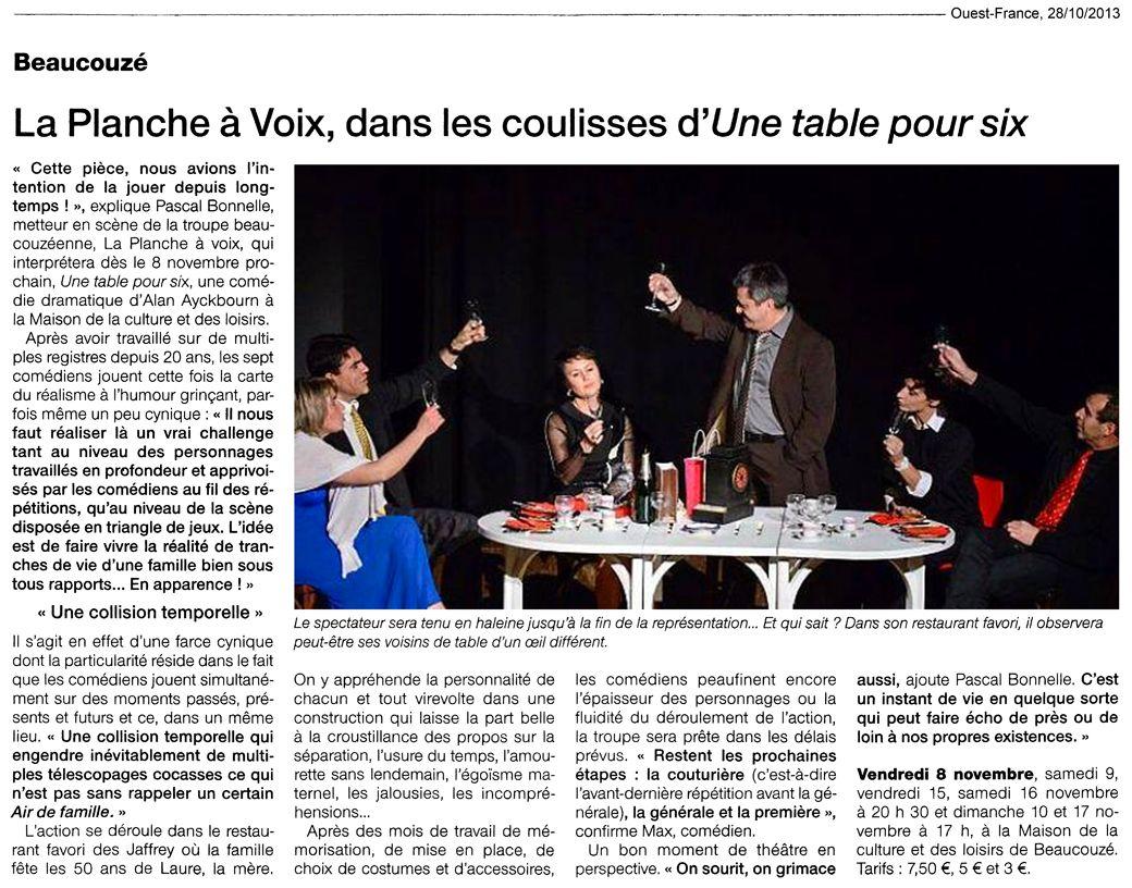 «Une table pour six», Ouest-France 28/10/2013