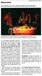 « Une table pour six », Ouest-France 06/11/2013