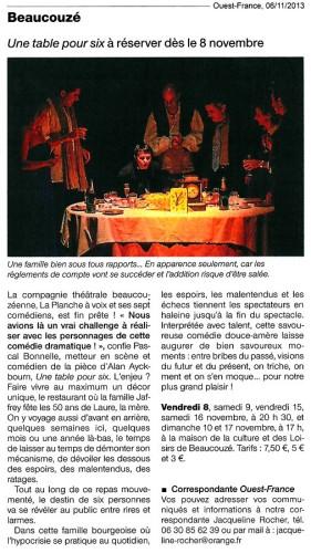 «Une table pour six», article de Ouest-France (2013-11-06)