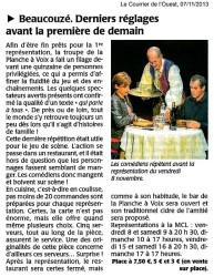 « Une table pour six », le Courrier de l'Ouest 07/11/2013