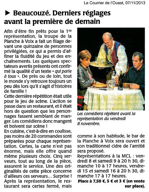 «Une table pour six», le Courrier de l'Ouest 07/11/2013