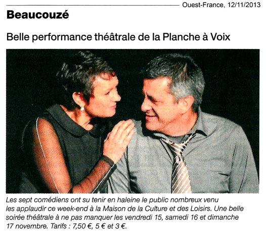 «Une table pour six», Ouest-France 12/11/2013