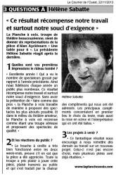 « Une table pour six », le Courrier de l'Ouest 22/11/2013