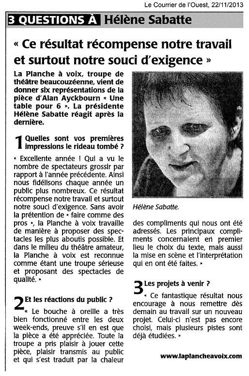«Une table pour six», le Courrier de l'Ouest 22/11/2013