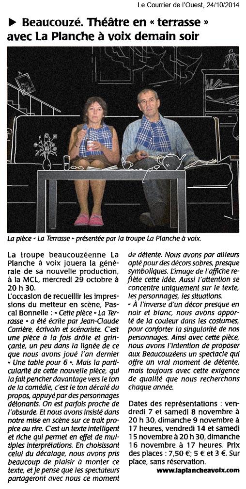 « La terrasse », Le Courrier de l'Ouest 24/10/2014
