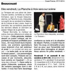 « La terrasse », Ouest-France 07/11/2014